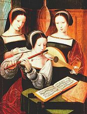 Three Musicians. Painting by the 'Master of the Female Half-Lengths', 16th century