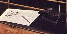 Beethoven's desk, with his spectacles and his inkpot(!)